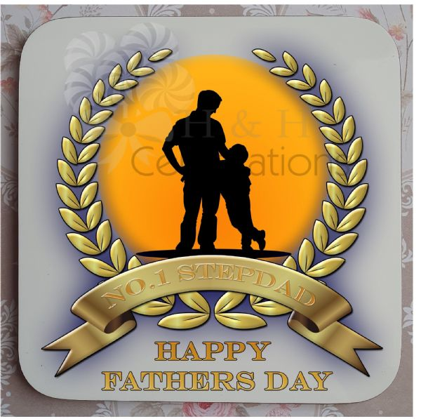 No 1 Stepdad And Son Laurel Silhouette Personalised Coaster